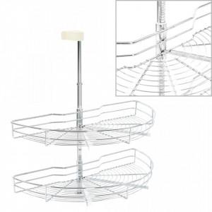 Coș sârmă bucătărie 2 rafturi argintiu 75x38x80 cm 180 grade