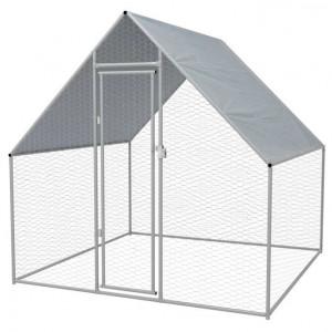 Coteț păsări de exterior, oțel galvanizat 2x2x2 m