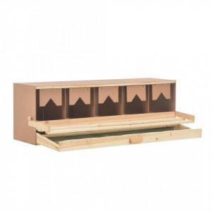 Cuibar găini cu 5 compartimente, 117x33x38 cm, lemn masiv pin