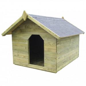 Cușcă câine grădină, acoperiș detașabil, FSC, lemn pin tratat