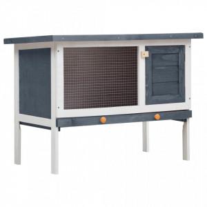 Cușcă de iepuri pentru exterior, 1 nivel, gri, lemn