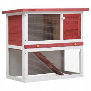 Cușcă de iepuri pentru exterior, 1 ușă, roșu, lemn
