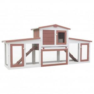 Cușcă exterior pentru iepuri mare maro & alb 204x45x85 cm lemn
