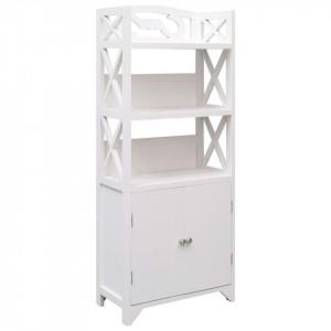 Dulap de baie, alb, 46 x 24 x 116 cm, lemn de paulownia