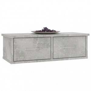 Dulap de perete cu sertare, gri beton, 60x26x18,5 cm, PAL