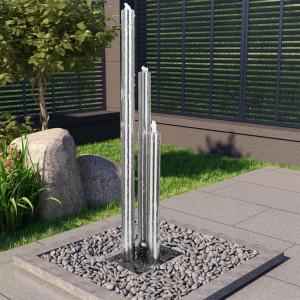 Fântână de grădină, argintiu, 48 x 34 x 153 cm, oțel inoxidabil