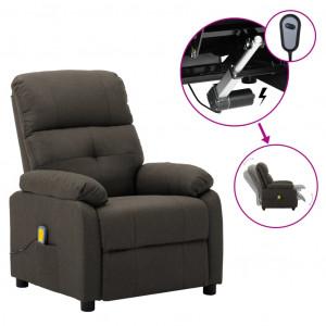 Fotoliu de masaj rabatabil electric, gri taupe, material textil