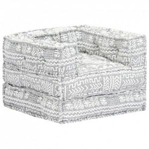 Fotoliu puf modular, gri deschis, material textil
