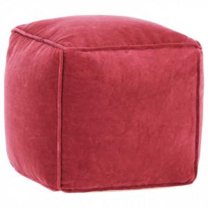 Fotoliu puf, roșu, 40 x 40 x 40 cm, catifea de bumbac