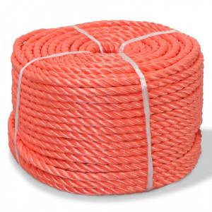 Frânghie împletită polipropilenă, portocaliu, 250 m, 12 mm