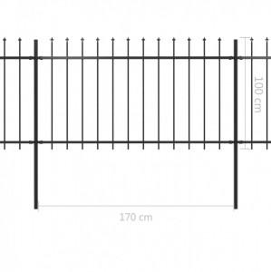 Gard de grădină cu vârf suliță, negru, 11,9 x 1 m, oțel