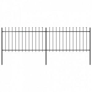 Gard de grădină cu vârf suliță, negru, 3,4 x 1 m, oțel