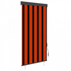 Jaluzea tip rulou de exterior, portocaliu și maro, 100 x 250 cm