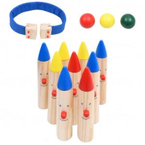 Joc de bowling, multicolor, lemn masiv de pin