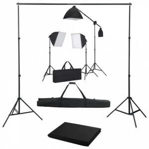 Kit studio foto cu lumini softbox și fundal
