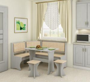 kitchen corner set with stools | MONACO/CRAFT WHITE