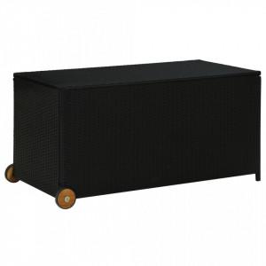 Ladă de depozitare de grădină, negru, 130x65x115 cm, poliratan