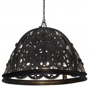 Lampă de tavan industrială cu lanț, model roată, 65 cm, E27