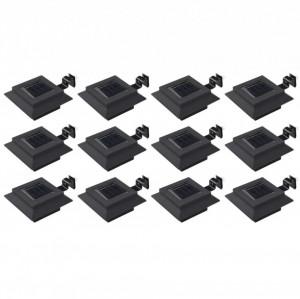 Lămpi solare de exterior, 12 buc., negru, 12 cm, pătrat, LED