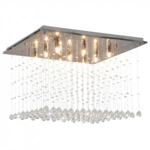Lustră cu mărgele de cristal, argintiu, cubic, G9
