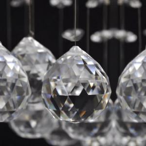 Lustră cu mărgele strălucitoare din sticlă, 8 x G9, 29 cm, alb