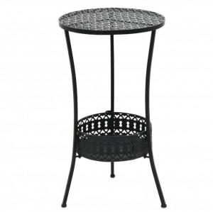 Masă bistro stil vintage, metal, rotundă, 40 x 70 cm, negru