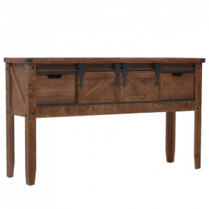 Masă consolă din lemn masiv de brad, maro, 131x35,5x75 cm