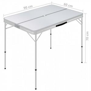 Masă de camping pliabilă cu 2 bănci, alb, aluminiu