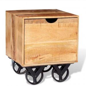 Masă laterală cu sertar și roți, lemn de mango 40 x 40 x 45 cm