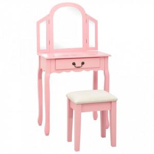Masă toaletă cu taburet, roz, 65x36x128 cm, lemn paulownia, MDF