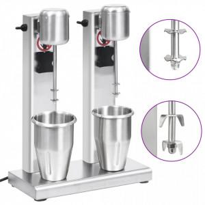 Mixer de milkshake cu 2 vase, oțel inoxidabil, 2 L