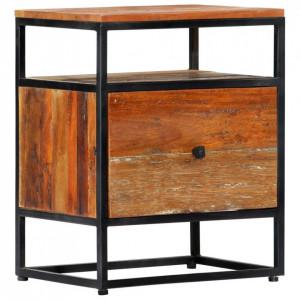 Noptieră, 40x30x50 cm, lemn masiv reciclat și oțel