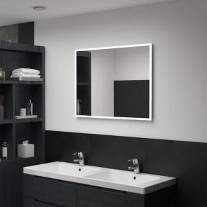Oglindă cu LED de perete pentru baie, 80 x 60 cm