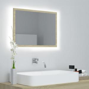 Oglindă de baie cu LED, stejar sonoma, 60x8,5x37 cm, PAL