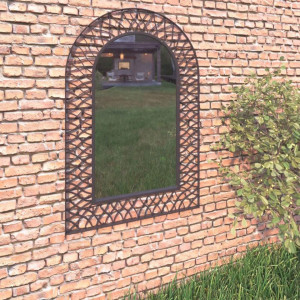 Oglindă de perete de grădină, negru, 50 x 80 cm, arcuită