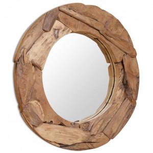 Oglindă decorativă Lemn de tec 80 cm Rotundă