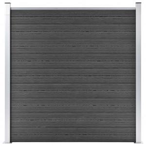 Panou de gard, negru, 180x186 cm, WPC