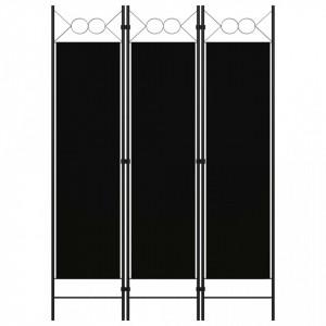 Paravan de cameră cu 3 panouri, negru, 120 x 180 cm
