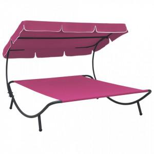 Pat șezlong de exterior cu baldachin, roz