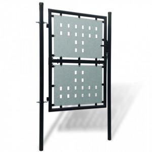 Poartă neagră pentru gard 100 x 225 cm