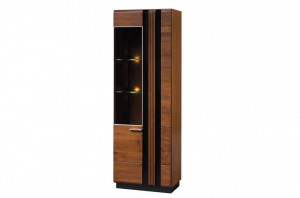 Porti 10 (vitrina 2d l) antique oak/black glass