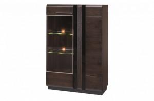 Porti 15 (vitrina 2d l) oak czecoladowy/black szk
