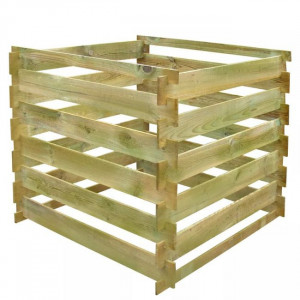 Pubelă de compost din șipci 0,54 m3 lemn FSC pătrat