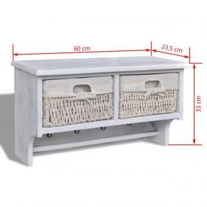 Raft de perete, alb, 60 x 23,5 x 33 cm, lemn de paulownia