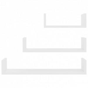 Raft expunere de perete, 3 buc., alb, PAL