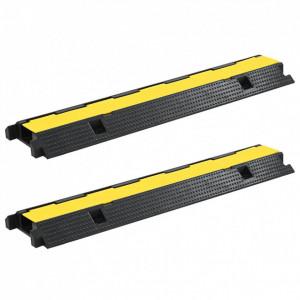Rampe de protecție cabluri, 2 buc., 1 canal, cauciuc 100 cm