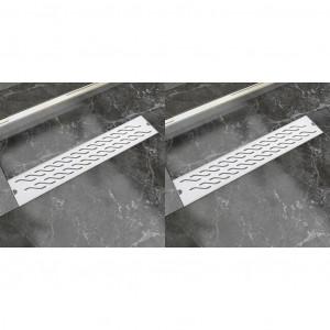 Rigolă liniară duș 2 buc. 630x140 mm oțel inoxidabil model val