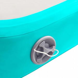 Saltea gimnastică gonflabilă cu pompă verde 400x100x15 cm PVC