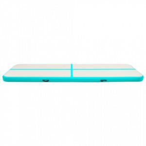 Saltea gimnastică gonflabilă cu pompă verde 600x100x20 cm PVC