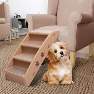 Scară pentru câini pliabilă, maro, 62 x 40 x 49,5 cm